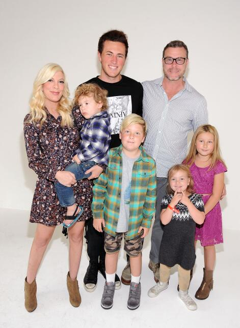 Actors Tori Spelling and Dean McDermott with their children attend the...