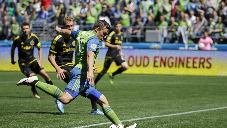 Jordan Morris de los Sounders de Seattle durante el partido de la MLS co...