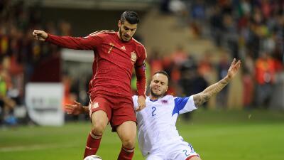 Álvaro Morata en un juego hacia la Euro con España.
