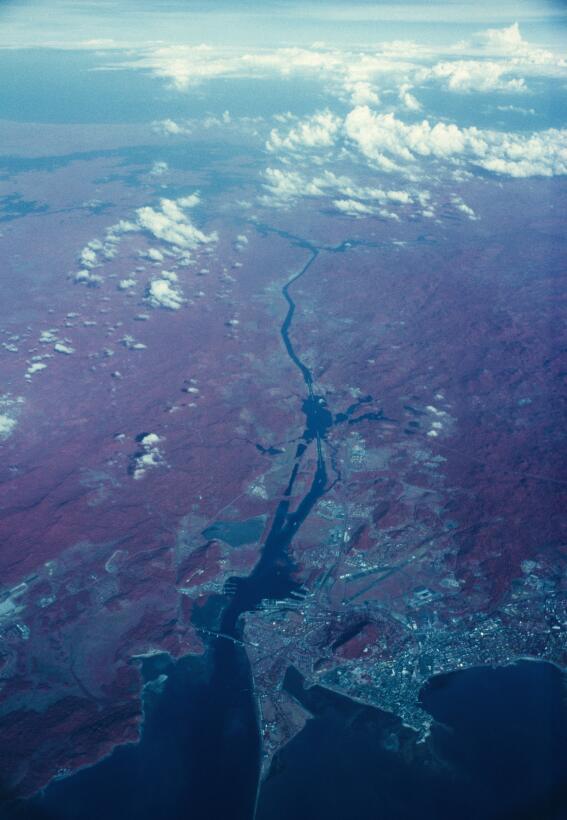 Toma aérea de la zona del canal en 1971. Fotografía de sur a norte, desd...