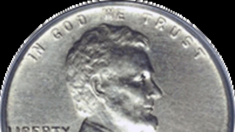 La moneda Steel Wheat Penny de 1944.