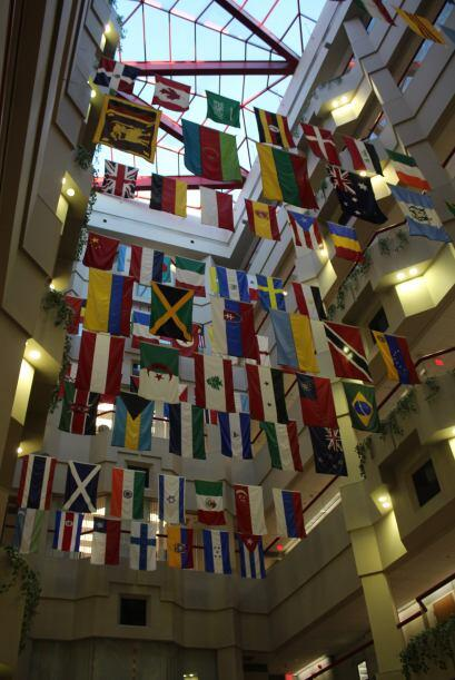 Cada bandera representa la nacionalidad de cada persona  que trabaja par...
