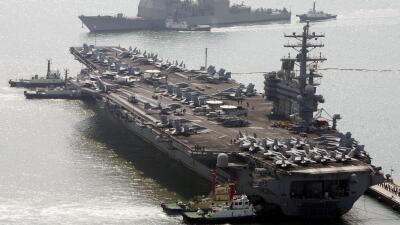 Portaaviones Ronald Reagan, uno de los que participan en el ejercicio na...