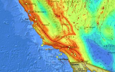 El mapa con el sistema de fallas geológicas ubica los sismos regi...