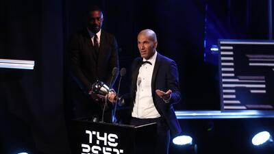 """Zinedine Zidane en la gala de los premios """"The Best""""."""