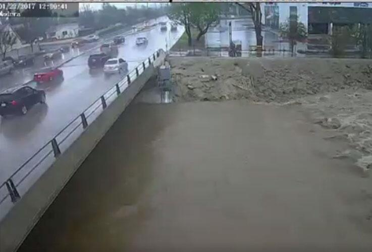 Web cam loop showing the water in the Arroyo Simi at Madera Road in Simi...
