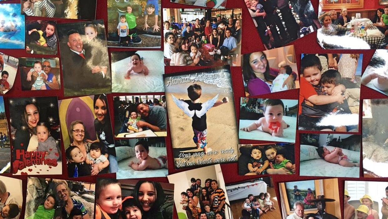 Fotos familiares de 'Piqui' mostradas durante el funeral.