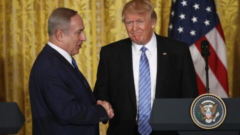 El presidente Donald Trump recibió a Benjamin Netanyahu en la Cas...
