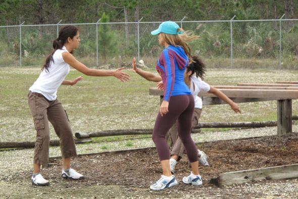El equipo de Claudia empezó la prueba y las chicas dieron el máximo.