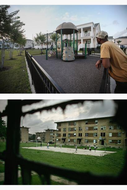 Un residente se encuentra en el desarrollo de la vivienda Marrero Common...