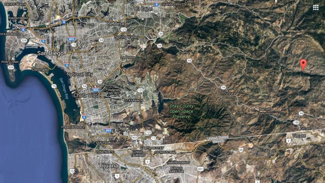 Este mapa muestra la zona montañosa del condado de San Diego, California...