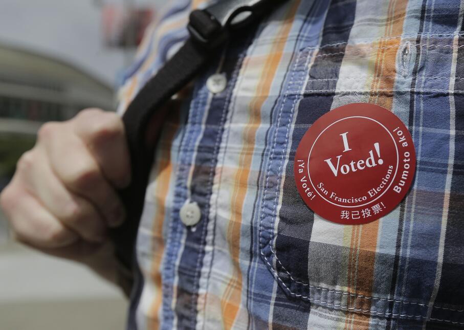 Calcamonía de votación en las primarias de California el 7 de junio de 2016