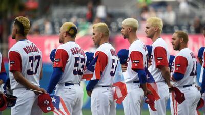 Los jugadores de Puerto Rico durante el Clásico Mundial de Béisbol antes...
