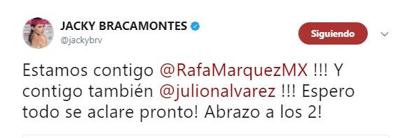 Twitter Jacky Bracamontes apoyo a Julión y Rafa