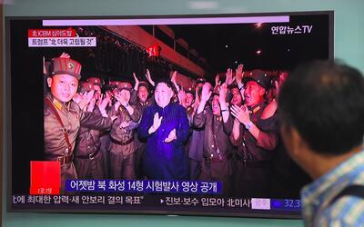 El líder norcoreano, Kim Jong Un, celebraba en una transmisión oficial l...