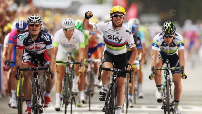 Mark Cavendish (Sky) ganó su primera etapa del Tour 2012, la segunda ent...