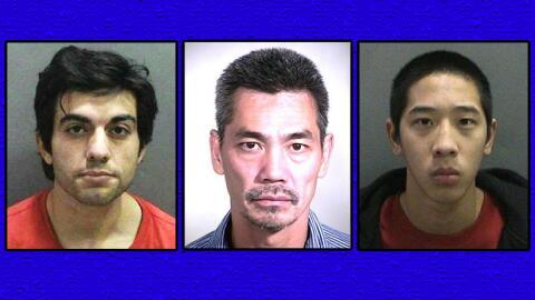 Fugitivos Hossein Nayeri (i), Bac Duong (c) y Jonathan Tieu (d)