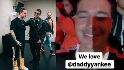 J Balvin y Daddy Yankee en Latino Mix Live! en Dallas, Texas el 12 de no...