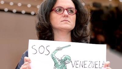 Venezuela cartoonist, Rayma Suprani, at the Cannes film festival in 2014...