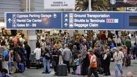 En la imagen, vista de la zona de reclamo de equipajes de la Terminal 1...