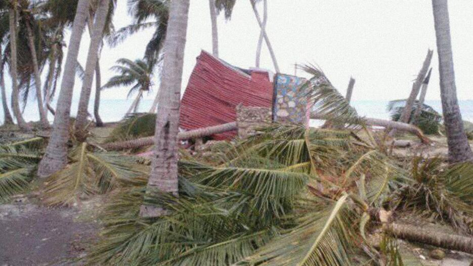 A destroyed house and broken palms in the aftermath of Matthew at Canobe...