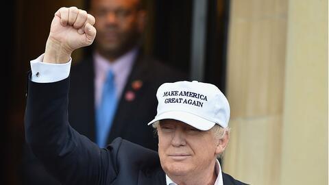 Presumptive Republican nominee for US president Donald Trump arrives at...
