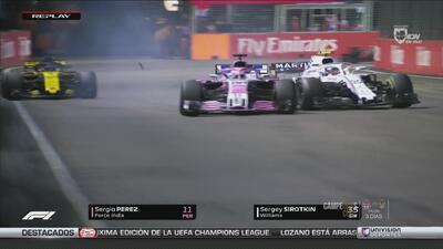¡La sacó barata! 'Checo' Pérez recibió sanción por chocar a Sirotkin en el GP de Singapur
