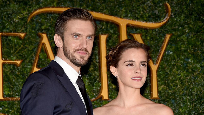 Dan Stevens y Emma Watson en la premier de La Bella y la Bestia