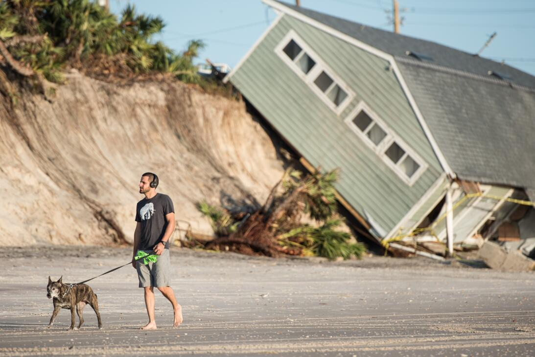Jose Orosz walks his dog Karen by a beachfront home destroyed by Hurrica...