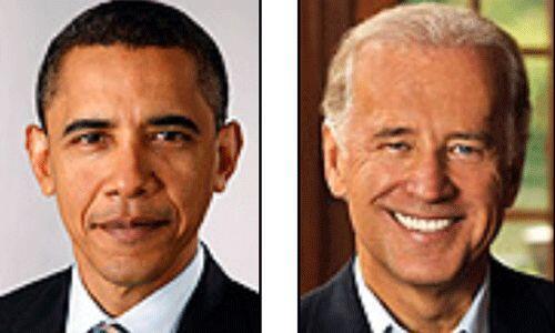 Los candidatos del Partido Demócrata: Barack Obama y Joe Biden. Actuales...