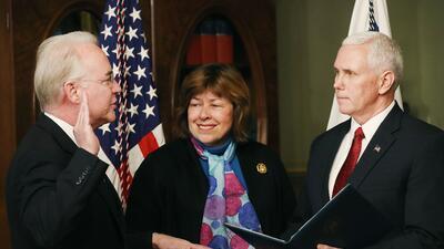 Tom Price jura como secretario del Departamento de Salud (HHS) este vier...