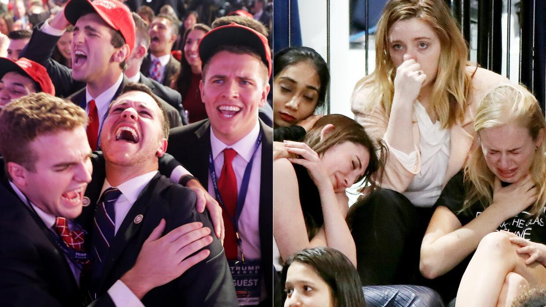 Las expresiones de celebración de los simpatizantes de Trump cont...
