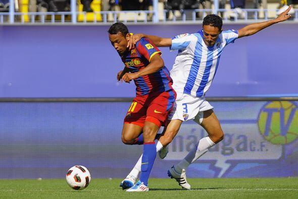 Barcelona disputó su último partido de la Liga ente el Málaga, de visita...
