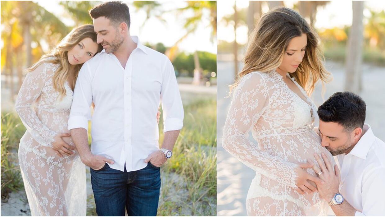 A días de dar a luz, así posa Ximena Duque junto a su esposo.