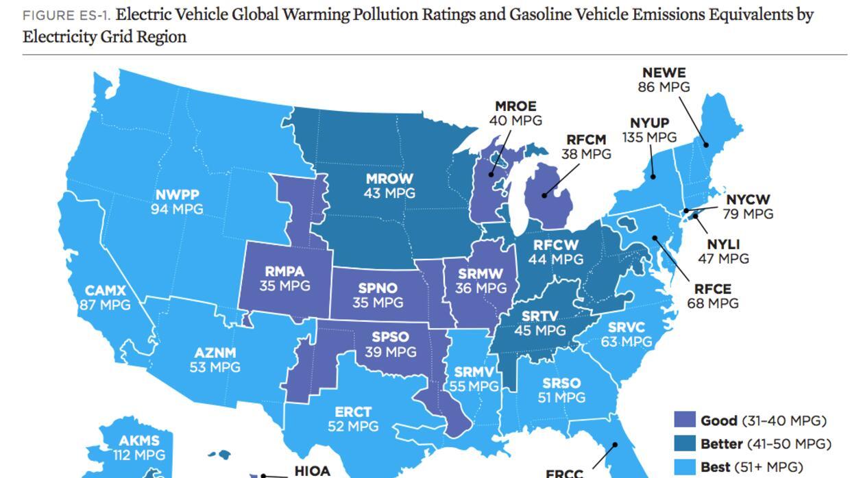Los estados en los que compensa  más tener un auto eléctrico en EEUU MAP...