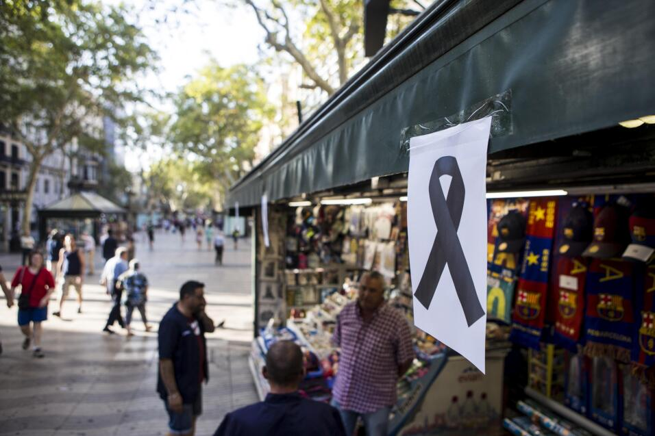 Un quiosco de La Rambla de Barcelona, el paseo en el que se produjo el a...
