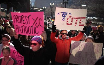 People rally in Chicago for the second annual Women's March on January 2...
