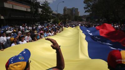 Marcha contra el gobierno en Caracas, Venezuela.