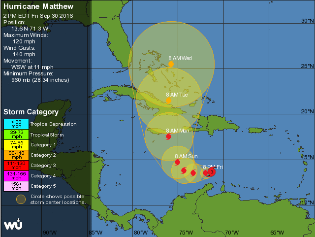 Weather Underground forecast warning cone for Matthew