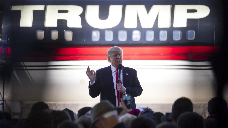 Trump durante el evento. Lo acompañó el gobernador Chris Christie