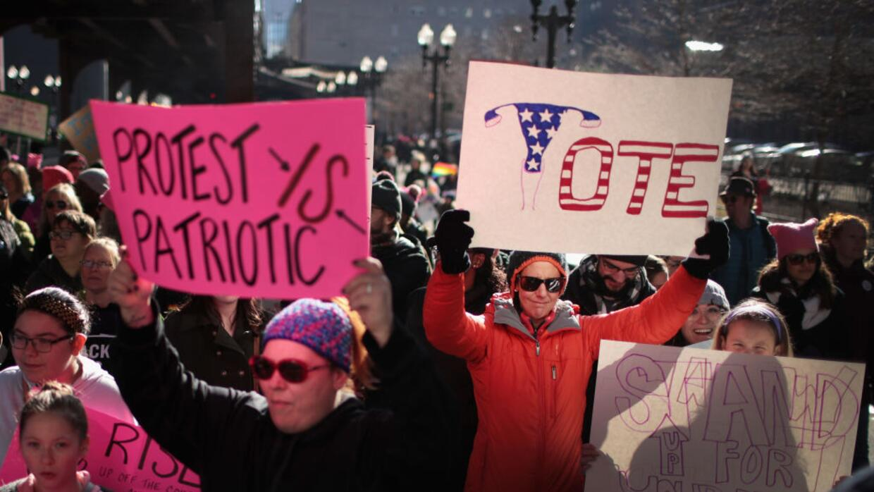 People rally in Chicago for the second annual Women's March on Janua...