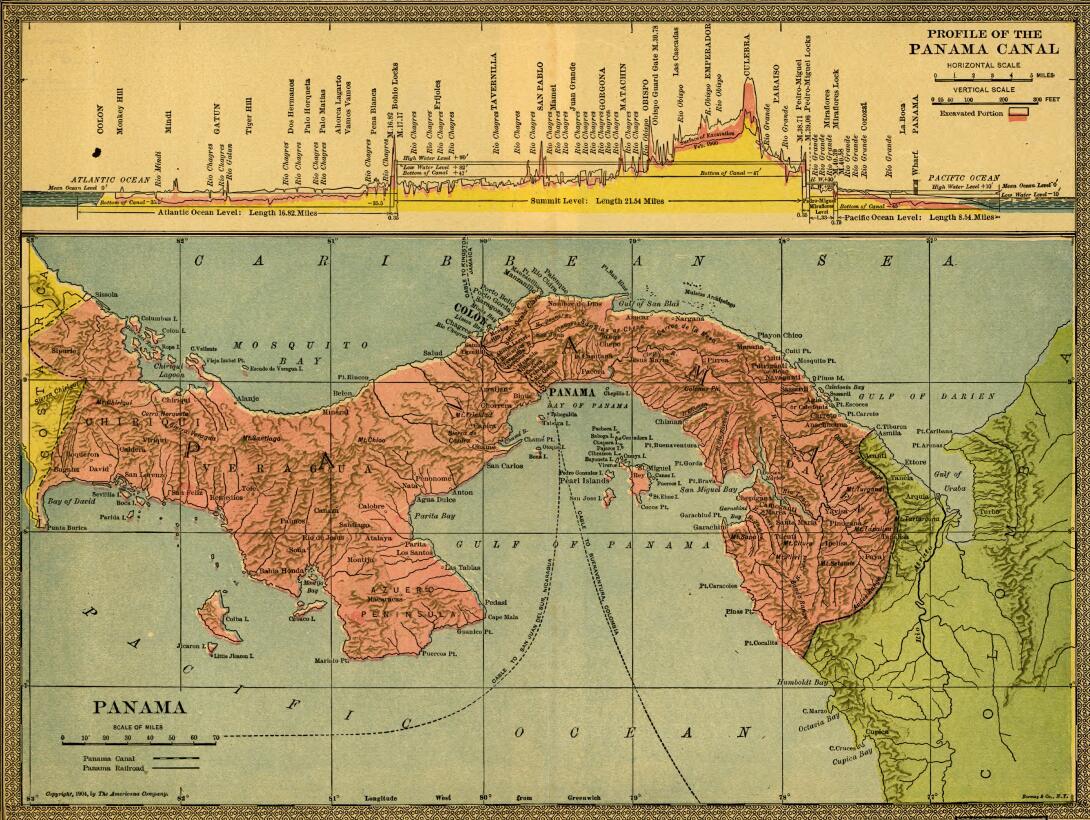 Mapa de 1904, La zona del canal. Illustration de Americana Company.