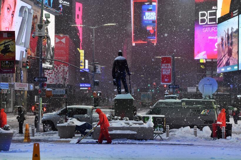 La vista de la nieve desde Times Square, ese punto de la ciudad que no f...