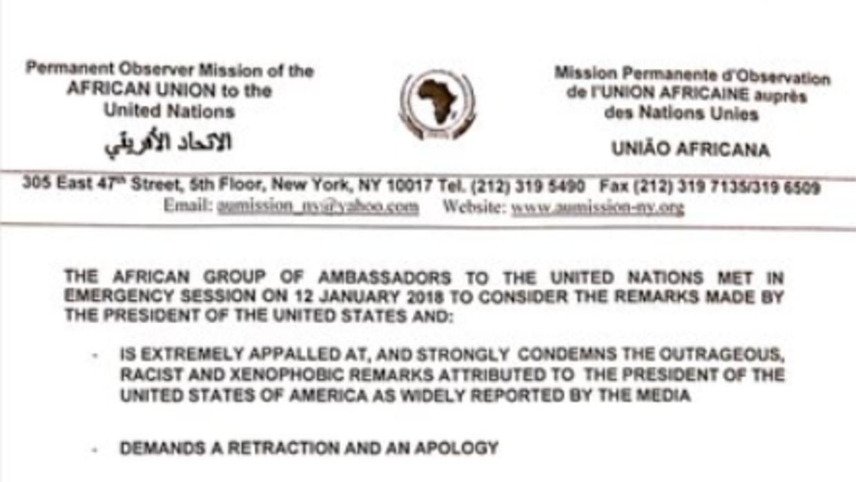 El comunicado de los embajadores africanos de la ONU que exige a Trump u...