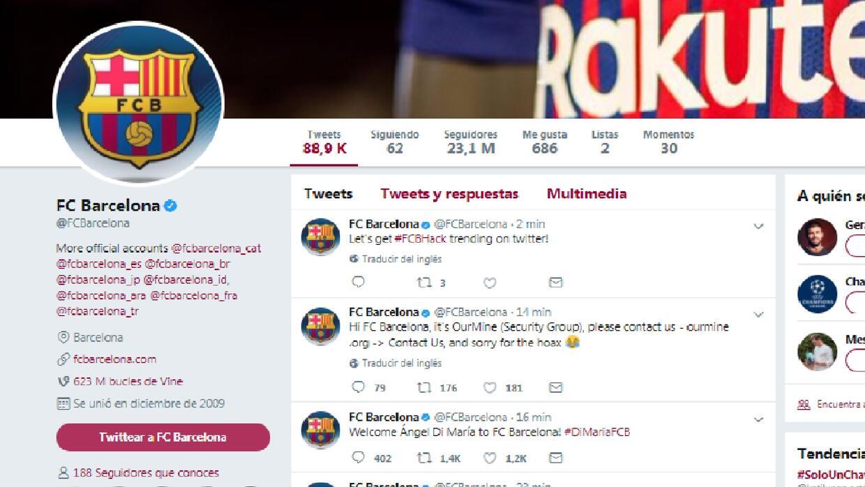 La cuenta oficial de Twitter del cuadro culé fue intervenida y an...