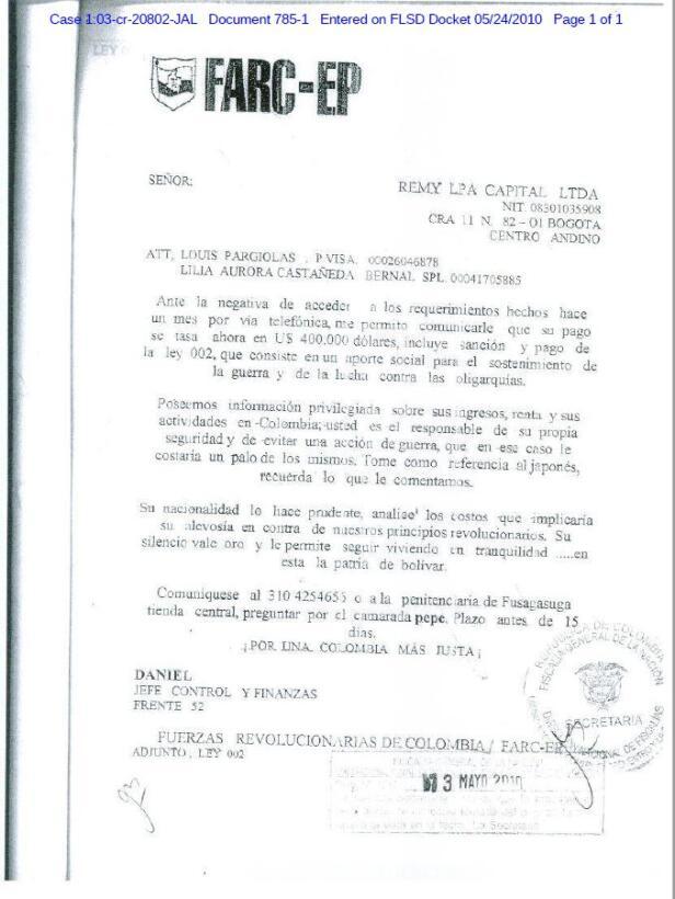 Pargiolas aportó esta supuesta carta de las FARC para justificar el pago...