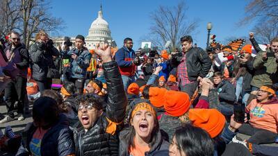 Un grupo de dreamers durante una protesta en Washington DC para pedirle...