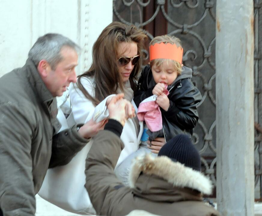 Angelina Jolie and daugther Shiloh depart Palazzo Contarini Poligna on M...
