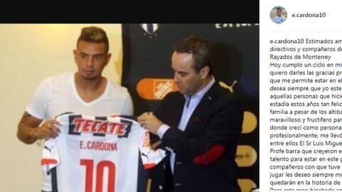 Cardona recordó su llegada a la Liga MX.