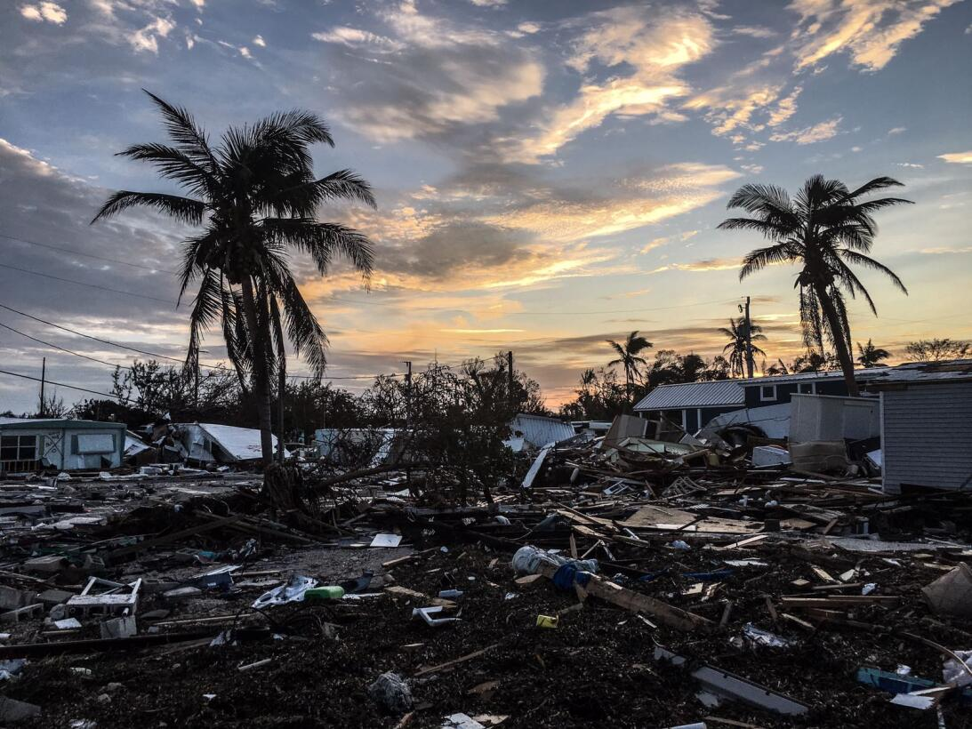 The devastating scene at a trailer park in Plantation Key which took the...